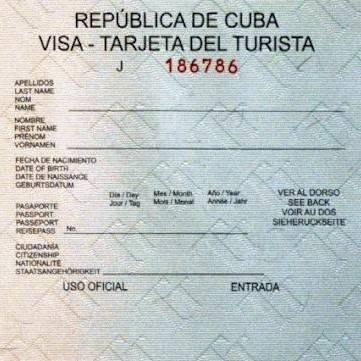 visado a Cuba excepto desde Estados Unidos